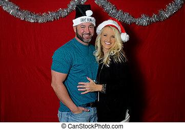 booth., weihnachten, portait, foto, paar