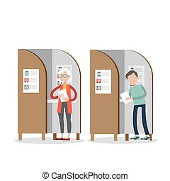 booths., votación, gente