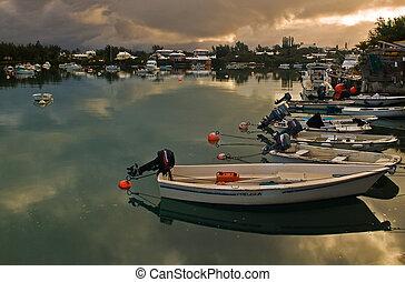 bootjes, in, een, kalm, zee