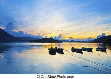 bootjes, landscape, achtergrond, zee, natuur