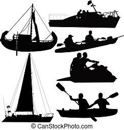 bootjes, vervoeren, wijze, waterig