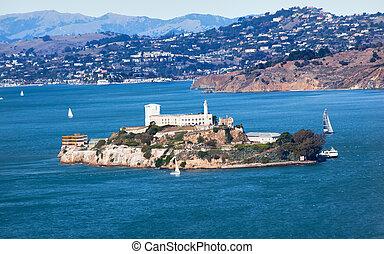 bootjes, zeil, san, eiland, alcatraz, francisco, californië