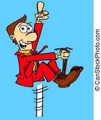 Bootlaces - Man in red suit pulling himself up by his own...
