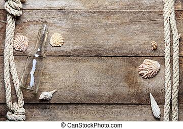 bootle, alterato, sgusciare, legno, vendemmia, corde, fondo