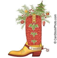 boot.luxury, vaquero, aislado, zapato, navidad blanca