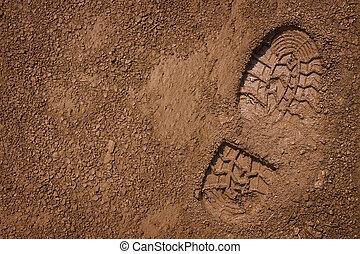 bootprint, på, lera