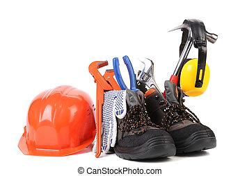 boots., εργαλεία , εργαζόμενος