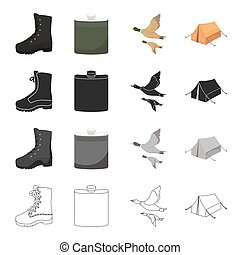 Boots, a hunting flask, a flight of ducks, a tent for rest. Hunting set collection icons in cartoon black monochrome outline style vector symbol stock illustration web.