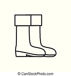 Boots Adventure Thin Line Icon Symbol Illustration Design