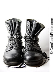 army boots isolated on white