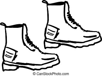 Boots drawing, illustration, vector on white background.