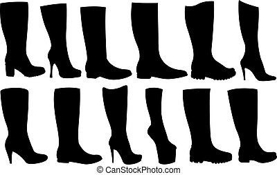 boots - set of different boots isolated