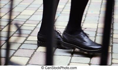 boots., frauen, beine, in, schuhe