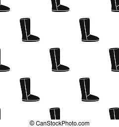 Boots icon in black style isolated on white background. Shoes pattern stock vector illustration.