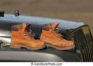 Boots on the hood of a car