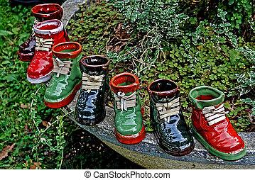 Boots ornamental from ceramics