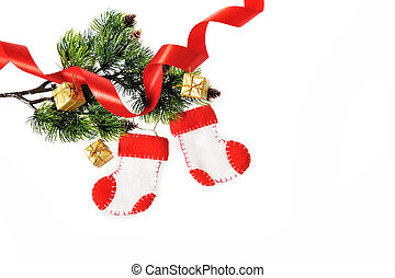 Boots Santa Claus, Christmas decoration hand Made on white backgr