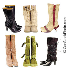 Boots - Six pair of women boots on the white background
