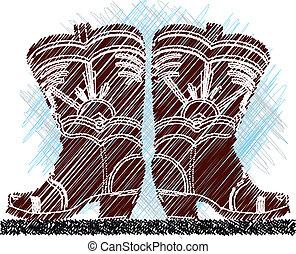 boots., vector, illustratie, cowboy