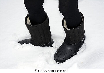 Boots with galoshes on the leg - valenki
