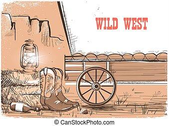 boots.vector, prairies, ouest, cow-boy, américain, fond, sauvage