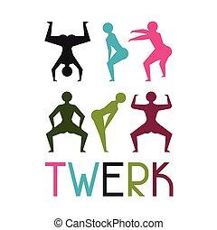 booty, dançar, dança, twerk, fundo, estúdio