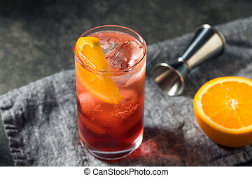 Boozy Refreshing Americano Cocktail with Orange and Gin