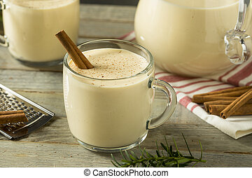 Boozy Warm Eggnog Punch with Cinnamon for Christmas