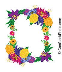 boquet, fiore, cornice, vettore