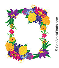 Boquet Flower Picture Frame Vector