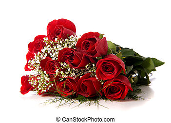 A boquet or red roses on a white background with copy space