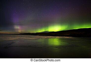 boréal, aurore, nord, lumières