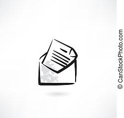boríték, grunge, levél, ikon