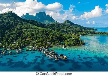 Bora Bora aerial drone image of travel vacation paradise and...