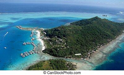 Bora Bora - Aerial view of Bora Bora and its lagoons and...