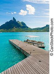Bora bora deck - Wood deck with turquoise water in Tahiti.