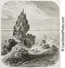 Bora Bora rocks and reef old view. Created by De Berard,...
