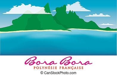Bora Bora - Otemanu mountain of Bora Bora, French Polynesia...