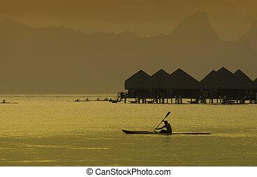 Bora Bora - French Polynesia - South Pacific - Dusk over the...