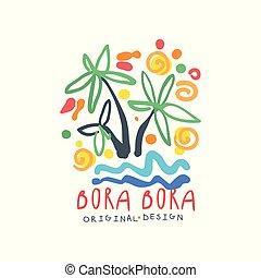 Bora Bora island logo template original design, exotic...