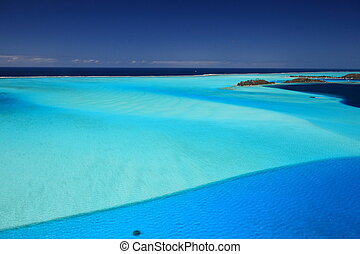 Bora Bora Lagoon, French Polynesia from above. Dreamlike...