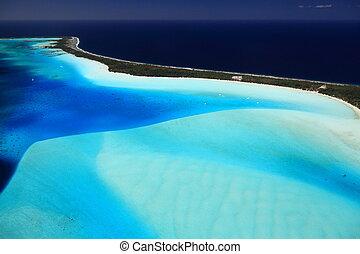 Bora Bora Lagoon, French Polynesia from above. Dreamlike colors.