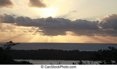 Bora Bora Lagoon with Maupiti Island in Distance in French...