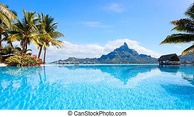 Bora Bora landscape - Beautiful view of Otemanu mountain on...