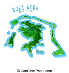 Bora Bora Map with nice background. Detailed vector...