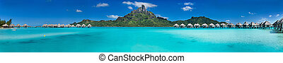 Bora Bora panorama - Beautiful view of Otemanu mountain on...