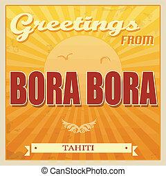 Bora Bora, Tahiti poster - Vintage Touristic Greeting Card -...