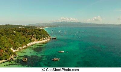 Boracay island with white sandy beach, Philippines - Aerial...