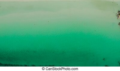 Boracay island with white sandy beach, Philippines -...