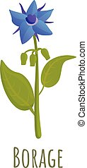 Borage flower icon, cartoon style - Borage flower icon. ...